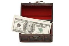 配件箱查出的货币白色 库存图片