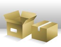配件箱棕色发运二 免版税库存照片