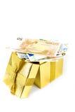 配件箱欧洲礼品金黄货币 免版税图库摄影