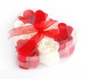 配件箱玫瑰肥皂 库存图片
