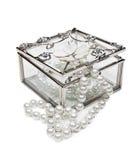 配件箱玻璃珠宝 免版税库存照片