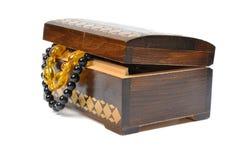 配件箱珠宝空白木 图库摄影
