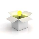 配件箱电灯泡被点燃的纸板光 库存图片