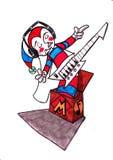 配件箱的音乐小丑 免版税库存照片