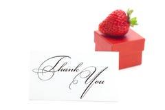 配件箱看板卡礼品草莓感谢您 库存照片
