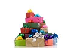 配件箱礼品包裹的许多 免版税库存照片