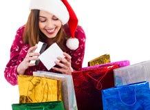 配件箱礼品女孩空缺数目圣诞老人 图库摄影