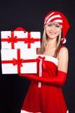 配件箱礼品女孩藏品圣诞老人 免版税库存图片