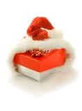 配件箱礼品帽子查出的圣诞老人 图库摄影