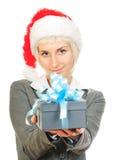配件箱礼品帽子藏品s圣诞老人妇女 免版税图库摄影