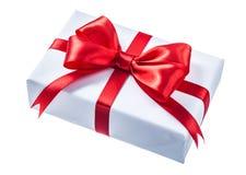 配件箱礼品查出的红色丝带白色 库存图片