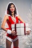 配件箱礼品藏品圣诞老人妇女 免版税库存照片