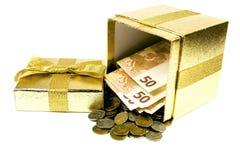 配件箱礼品货币 库存照片