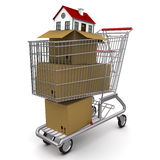 配件箱纸板房子 免版税图库摄影