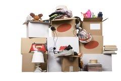 配件箱纸板概念拆迁运输 库存照片