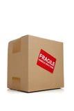 配件箱纸板脆弱的移动贴纸 库存图片