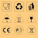 配件箱纸板集合符号 向量 图库摄影