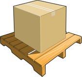 配件箱纸板货盘木头 库存图片