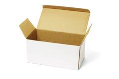 配件箱纸盒开放白色 库存照片