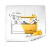 配件箱绘图工具 免版税库存照片