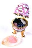 配件箱蛋珍贵半石头 免版税库存照片