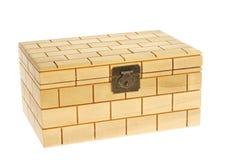 配件箱被关闭的查出的空白木头 库存照片