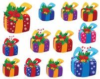 配件箱被设置的圣诞节礼品 免版税库存图片