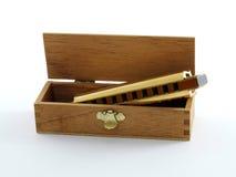 配件箱被镀的金口琴 库存图片