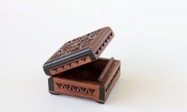 配件箱被雕刻的小的木头 免版税库存图片