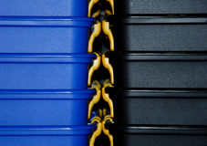 配件箱详细资料堆积 免版税库存图片