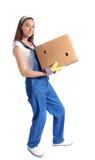 配件箱运载的移动妇女年轻人 免版税库存照片