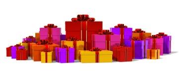 配件箱颜色礼品堆 免版税库存照片