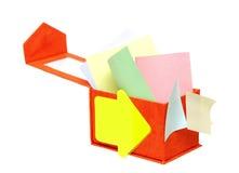 配件箱颜色附注开张提示 免版税库存图片