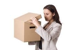 配件箱busnesswoman纸板求知欲查找 库存照片