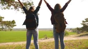 配合举她的手,庆祝胜利和享受风景的徒步旅行者女孩 通过假期旅行的妇女 免版税图库摄影
