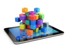 配合企业概念-求聚集从块的立方 向量例证