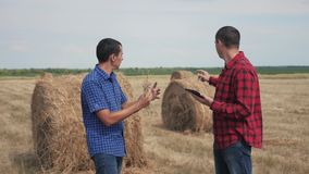 配合农业聪明的种田的概念 学习一种领域生活方式的两名人农夫工作者一个干草堆在数字 股票视频