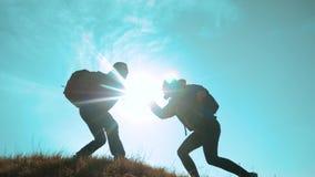 配合帮助商务旅游概念 两个徒步旅行者人和妇女游人登山人在山的上面上升 股票视频