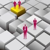 配合概念,商人在立方体站立 向量例证