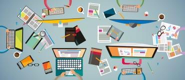 配合的理想的工作区和brainsotrming与平的样式 免版税图库摄影