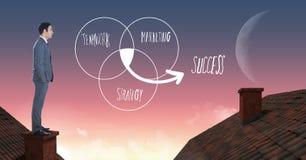 配合营销和站立在有烟囱和月亮天空的屋顶的成功文本和商人 库存图片