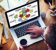 配合队连接战略合作支持难题骗局 库存图片