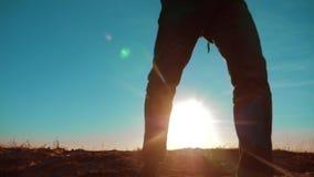 配合 与背包走在日落的两条游人徒步旅行者人和狗去远足旅行 慢动作录影 旅途 影视素材