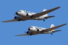 配对DC-3显示在MAKS-2015 airshow在Zhukovsky 免版税图库摄影