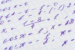 配方数学纸张 库存图片