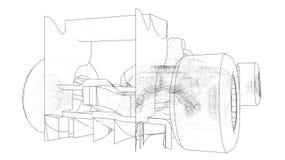 配方1汽车 抽象图画 3d的追踪的例证 库存例证