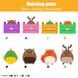 配比的儿童教育比赛,孩子活动 与箱子的比赛动物 免版税库存图片