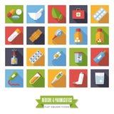 配药学和医学平的设计方形的象传染媒介集合 向量例证