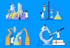 配药研究集合 做临床测试的科学家 向量例证