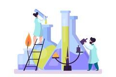配药研究 做临床测试的科学家 库存例证